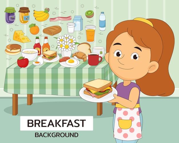 朝食のコンセプトの背景。フラットアイコン。