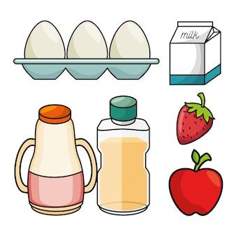 Концепция завтрака яйцо молоко яблоко клубничный сок графика