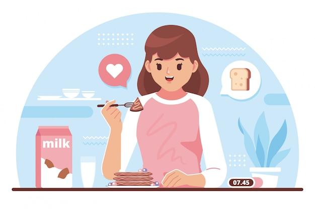 Завтрак концепция плоский дизайн иллюстрация