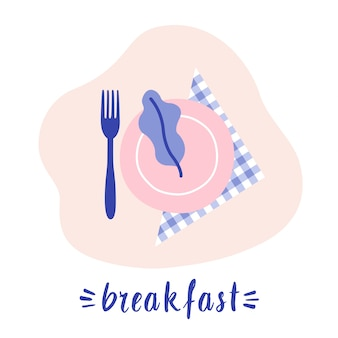 Breakfast concept. plate on the napkin with fork. greenery on the plate. flat lay food. vector illustration flat design.