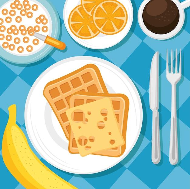 食事と飲み物のある朝食コンセプト