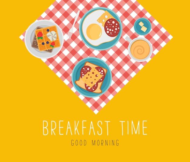 生鮮食品、上面と朝食のコンセプトです。朝食はフルーツベーコンと卵、パセリ、ソーセージとチーズのトーストで設定。食事の時間。フラットなデザインで、