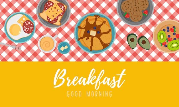 Концепция завтрак со свежими продуктами, вид сверху. завтрак с фруктами, беконом и яйцами, петрушкой, тостами с колбасой и сыром. время еды в плоском дизайне.