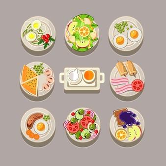 Концепция завтрака со свежими продуктами