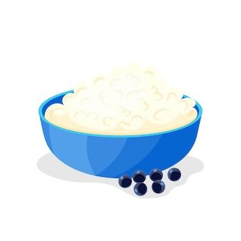 朝ごはん。カッテージチーズ。適切な栄養の概念。プロバイオティクス。漫画風のアイコン。孤立したオブジェクト。