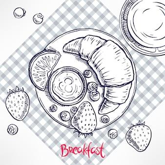 朝ごはん。クロワッサン、ジャム、ブルーベリー、イチゴ、ジュース。手描きイラスト