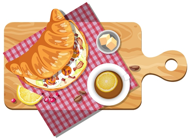 Breakfast croissant sandwich with a cup of lemon tea on a wooden plate isolated