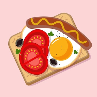 Breakfast in different colors illustration