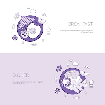 Breakfast and dinner meal concept template banner