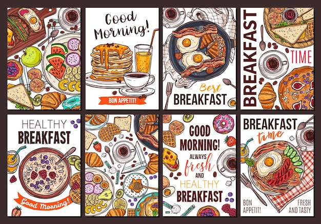 Breakfast dishes hand drawn poster templates set, traditional american and british morning meal sketches pack.