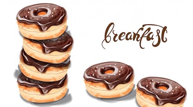 수채화의 아침 도넛 프리미엄 벡터