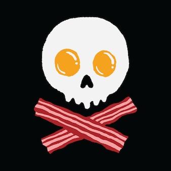 朝食卵ベーコンスカルホラー面白いイラストアートtシャツ