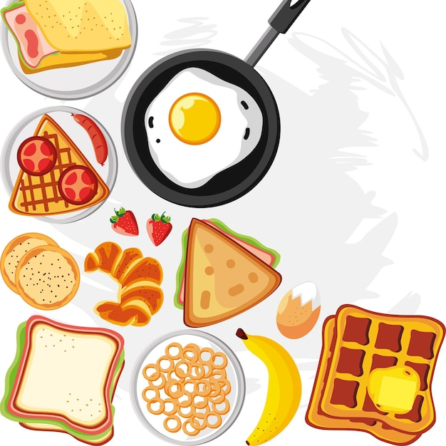 Breakfast egg breads and fruits