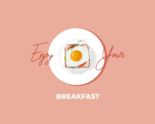 Breakfast egg sandwich illustration