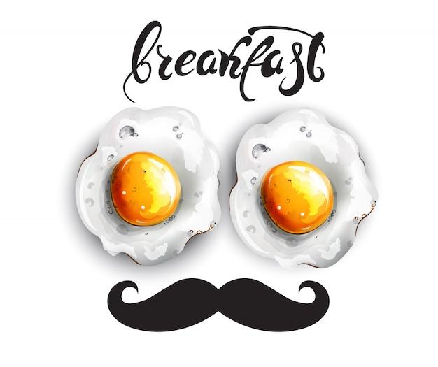 Breakfast eggs with mustache