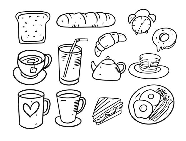 朝食要素落書きセット。手描きイラスト。ブラックラインスタイル。白い背景で隔離。