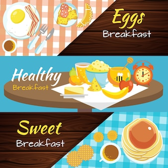 Breakfast flat banner set