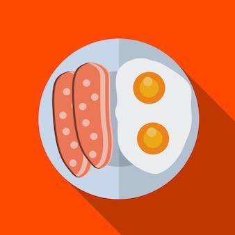 Завтрак плоский значок иллюстрации изолированных вектор знак символ
