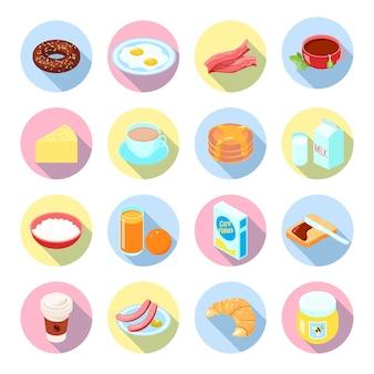 Еда на завтрак и напитки плоские иконки с чайным соком кофе каша бекон в кругах изолированных векторная иллюстрация