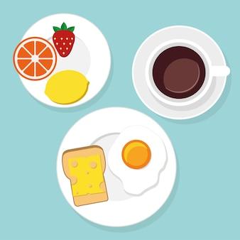 フラットスタイルのベクトル図で朝食の食べ物や飲み物