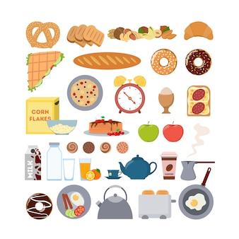 Еда на завтрак и набор предметов. хлеб и яйца, будильник и тостер.