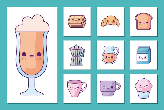 Breakfast and food cartoons icon set