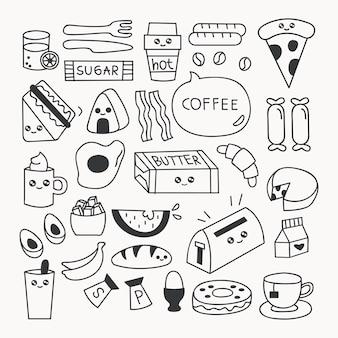 Breakfast food doodle set vector illustration