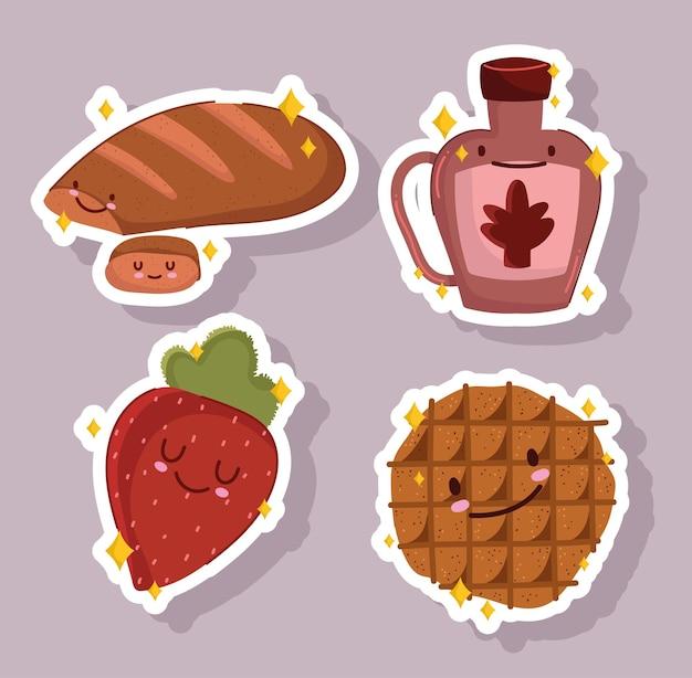 아침 식사 음식 신선한 만화 귀여운 빵 딸기 시럽 병 및 쿠키