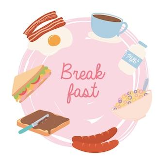 Еда для завтрака свежее жареное яйцо, бекон, молоко, кофейная чашка, колбаса, сэндвич, иллюстрация
