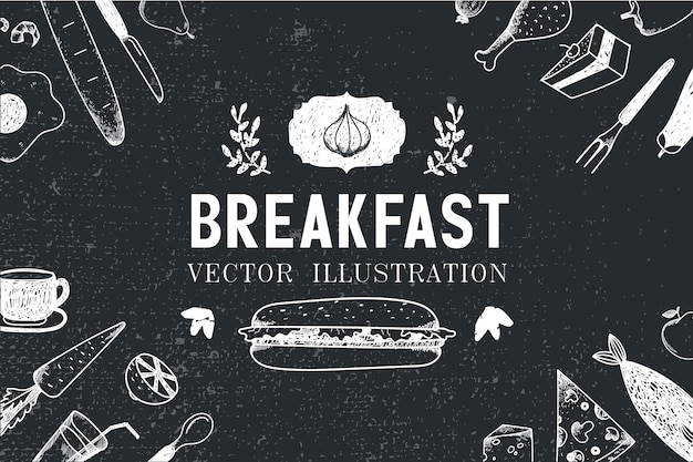 Breakfast, food hand drawn illustration, banner, menu cover, poster. black and white