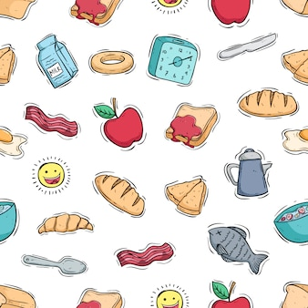 Breakfast food illustration in seamless pattern with colored doodle style