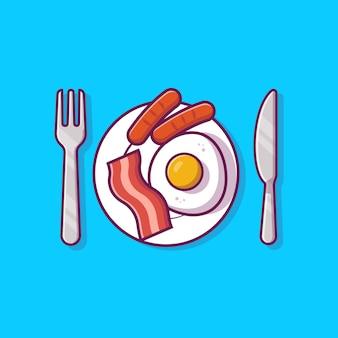 卵とソーセージの漫画イラストのプレートに朝食用食品。