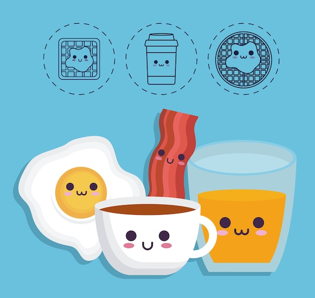 Breakfast food related icons