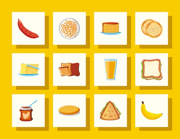 Breakfast food sausage sandwich banana