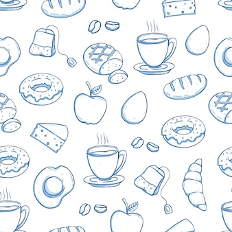 Breakfast food in seamless pattern with doodle style