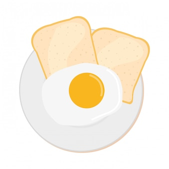 Breakfast food with egg and toasts, top view