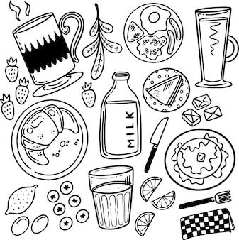 Breakfast foods doodle