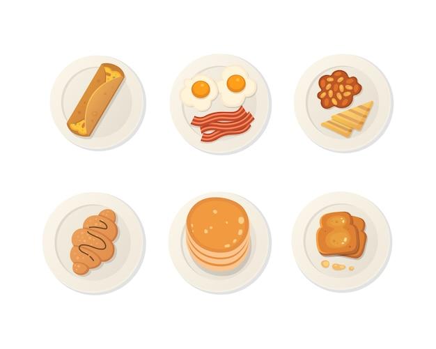 Вид сверху на завтрак свежие продукты. набор еды для завтрака.
