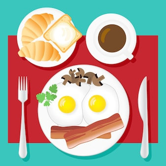 Breakfast. fried eggs, bacon, mushrooms, parsley, coffee, croissants, bread and butter on white plates