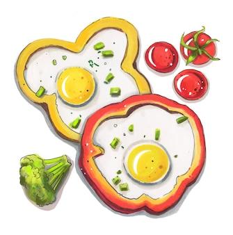고추에 튀긴 계란을 아침 식사.