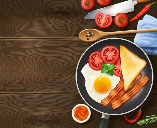 Breakfast in frying pan top view