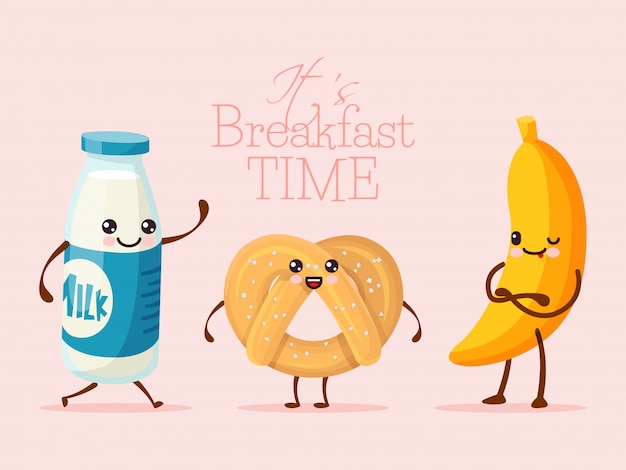 Breakfast funny cartoon character, banana fruit, sweet cookie biscuit and milk glass bottle   illustration. drawn person hold hand.