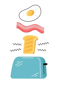 Breakfast. good morning. egg, bacon, toast.