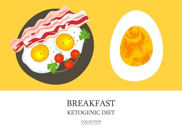 아침밥. 케톤 생성 다이어트를 위한 훌륭한 아침 식사. 베이컨과 달걀. 독특한 손으로 그린 텍스처와 벡터 일러스트 레이 션.