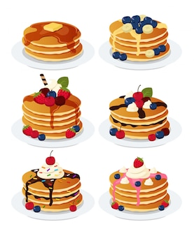Breakfast hotcakes set with fruits