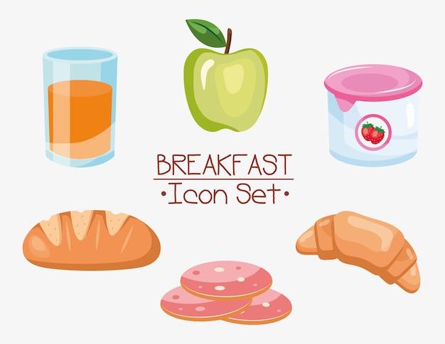 Завтрак значок набор дизайн, еда и еда тема векторные иллюстрации