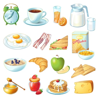 Breakfast icon set with isolated and colored food and utensils for eating