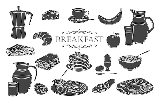 아침 식사 아이콘 글리프 격리 아이콘을 설정합니다. 우유, 커피 포트, 컵, 주스, 샌드위치 및 계란 후라이 용기.
