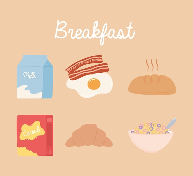 Набор иконок для завтрака, молоко, яйцо, бекон, хлеб, хлопья, молоко и круассан