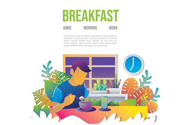 Breakfast illustration for landing page web template